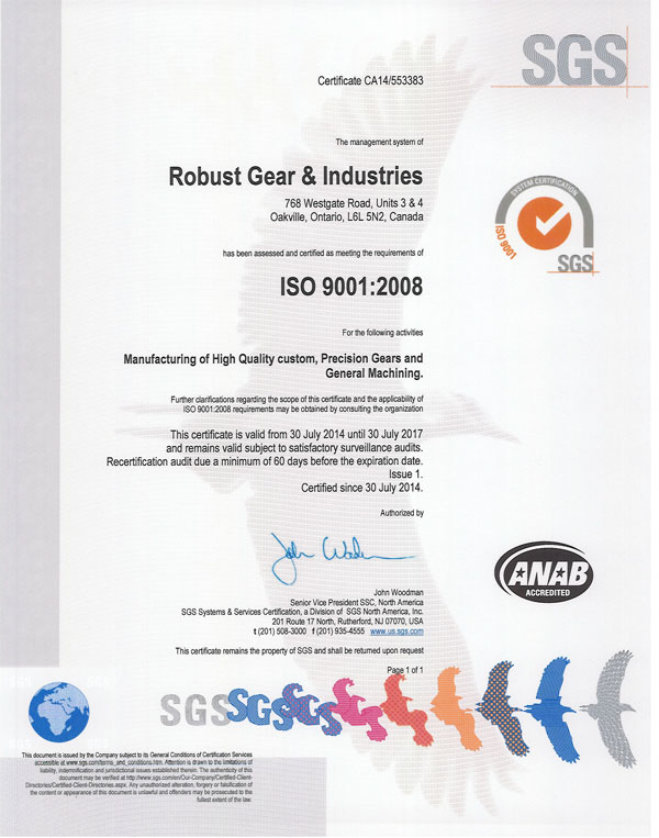 Robust Gear is a ISO 9000 | 9001: 2008 Company
